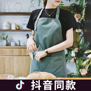 高档ins围裙全棉防水厨房咖啡店餐厅美甲韩版时尚定制新款男女