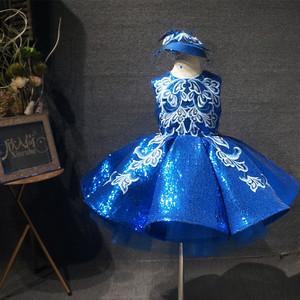 儿童礼服短款蓬蓬裙公主裙女童蓝色主持钢琴走秀表演演出服