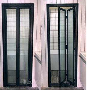 北京定做臥室廚房陽臺衛生間黑色窄邊框鋁鎂鈦合金折疊門推拉隔斷