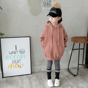 女童秋冬季长款卫衣儿童连帽宽松小学生中大童加绒时尚帽衫上衣潮