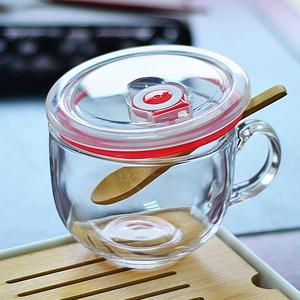 燕麦片碗马克杯早餐杯玻璃可微波带盖勺便携大容量日式咖啡甜品碗