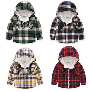 儿童加绒衬衫厚款 保暖衬衣男童打底绒衫宝宝羊羔绒帽衫外套秋冬