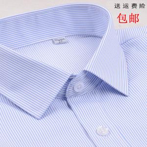 女士白底藍色條紋長袖襯衫銀行職業裝方領修身OL工裝大碼襯衣寸衣