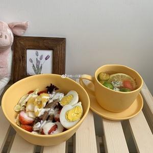 EGGTART 韩国ins同款密胺咖啡杯碟沙拉碗 美式拿铁果汁杯咖啡杯碟