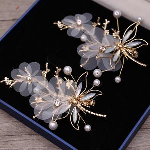 2019新款金色蜻蜓发夹新娘头饰结婚蕾丝边夹对夹发饰汉服配饰品女