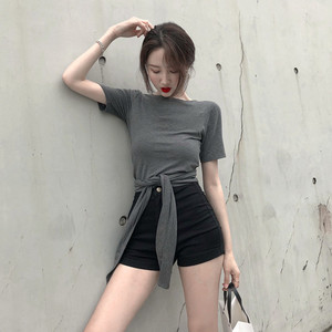 V领绑带上衣女夏季性感短袖交叉打结系带T恤修身短款衣服四种穿法