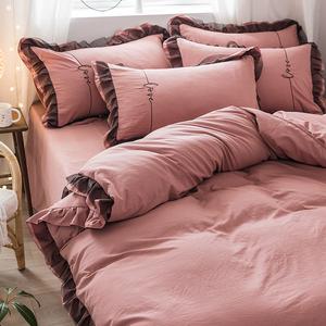 網紅款水洗棉四件套公主風少女心床單被罩被套床笠三件套床上用品