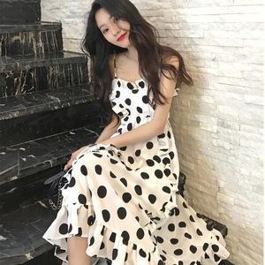 夏天泰國巴厘島沙灘裙海邊度假出游吊帶雪紡連衣裙超仙女顯瘦長裙