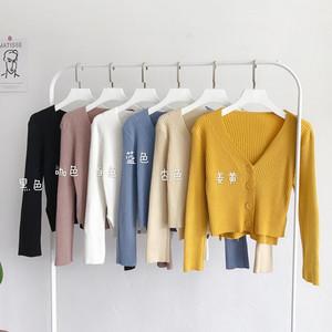 韓版時尚chic前短后長針織開衫新短款V領長袖外搭上衣毛衣外套潮