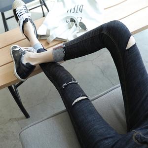 黑色裤子女打底裤女外穿春秋款显瘦破洞铅笔裤紧身小脚九分牛仔裤