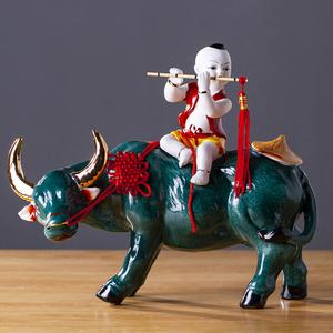 景德鎮陶瓷器牧童騎牛古典藝術擺件家居客廳裝飾品工藝品中式擺設