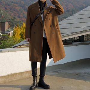 秋冬季英倫風毛呢大衣男韓版寬松風衣中長款男士過膝呢子外套潮流