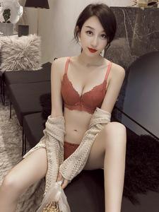 荷韻閣法式蕾絲軟鋼圈上托聚攏小胸罩女性感刺繡文胸套裝中厚款夏