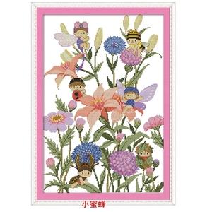 印花可爱小蜜蜂十字绣新款儿童幼儿园卡通动物花卉图案勤劳小蜜蜂