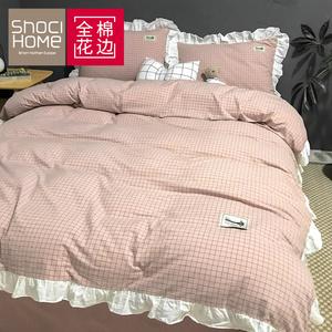 网红款四件套全棉纯棉少女心公主风被套床笠床单宿舍床上三件套件