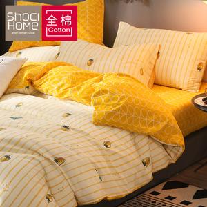 网红款四件套全棉纯棉被套宿舍床单三件套床笠套件北欧风床上用品
