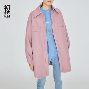 初语呢子大衣女新款2018中长款纯色韩版宽松翻领秋冬季毛呢外套
