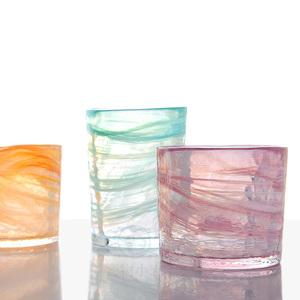 月夜野工房日本手工玻璃杯設計師款大理石紋暈染彩色玻璃水杯酒杯
