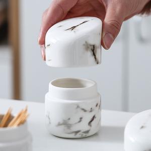 北欧风陶瓷牙签盒 餐桌茶几大理石纹时尚掀盖款牙签筒牙签收纳罐