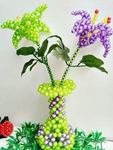 精美diy手工串珠成品 工艺品花瓶百合花 创意饰品家居摆件材料