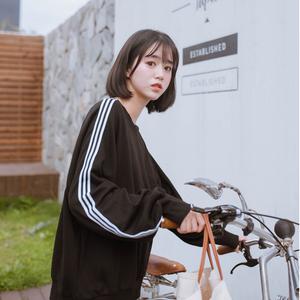 2018春裝新品女裝韓版寬松型圓領長袖棉質條紋衛衣外套