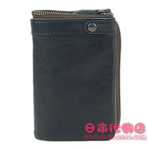 日本专柜男士钱包TOUGH驾驶证件真皮竖款蓝绿多色拉链搭扣软皮夹