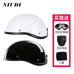 摩托車復古哈雷半盔小牛電動電瓶車半覆式夏飄盔四季男女輕便頭盔