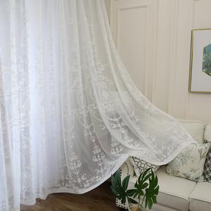 歐式蕾絲繡花白紗窗簾刺繡田園臥室客廳落地飄窗陽台成品繡花特價