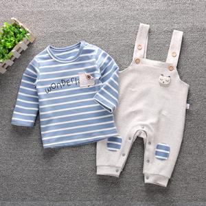 婴儿背带裤套装 宝宝儿童春秋季男女小孩衣服2019洋气纯棉1-3岁潮