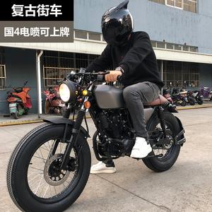 摩托车CG复古机车200cc国4电喷街车跑车太子越野公路赛燃油助力车