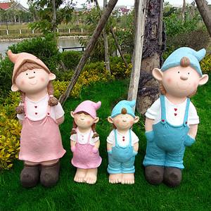 卡通小孩摆件户外花园林庭院景观雕塑幼儿园装饰工艺品样板房摆设