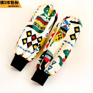 韩式纯棉长款袖套罗口套袖卡通棉布学生成人男女袖套防污2双包邮