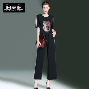 海青蓝显瘦套装裤两件套洋气2019春夏新款时尚气质T恤阔腿裤女潮