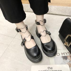 复古森女系圆头松糕厚底娃娃鞋单鞋春夏学院风日系包头小皮鞋子
