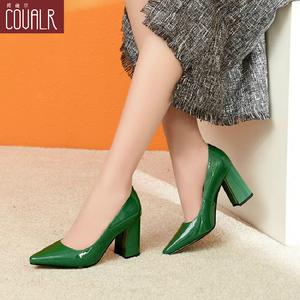 2019新款秋季女鞋浅口皮鞋漆皮绿色高跟鞋瓢鞋女尖头粗跟真皮单鞋