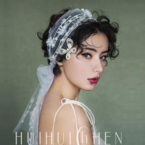 新款韩式手工唯美?#21672;?#32593;纱蕾丝花朵新娘结婚发带头饰婚纱礼服饰品