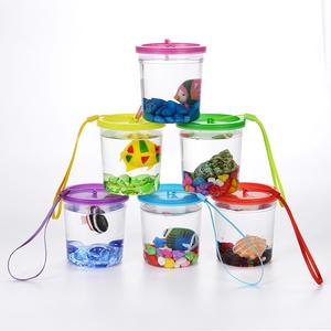 斗鱼杯斗鱼盒迷你水母杯宠物盒高透明塑料鱼缸带盖带绳子乌龟缸