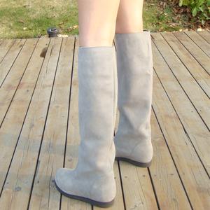 2019春秋冬新款女鞋保暖靴磨砂真皮高筒靴平跟女靴牛皮內增高長靴