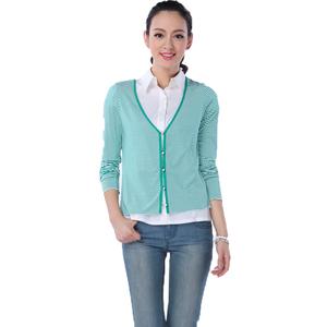 范倫汀范范2014新款女裝 休閑款綠色條紋小開衫 G400030#