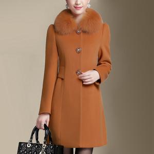 狐狸毛领羊绒大衣女晨红2016秋冬装新款高档修身中长款羊毛呢外套