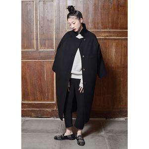 9-黑色双面羊绒全手工缝制长款大衣