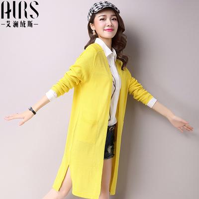 艾澜绒斯2016春装新款女装 宽松大码中长款款长袖