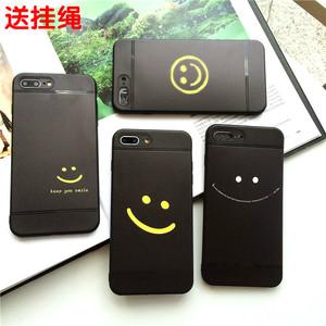 情侣笑脸iphone8plus经典7手机壳6s/6plus镂空文具软壳配绳磨砂款立雪苹果图片