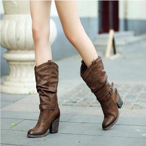 冬季新款加绒中靴子圆头高跟中筒靴马丁靴女粗跟英伦复古高筒长靴