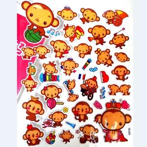超萌卡通小动物淘气小猴子立体海绵贴纸儿童奖励贴画日韩文具粘纸