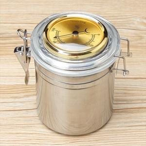 不锈钢烟斗保湿罐 烟草加湿储存罐 带加湿片湿度计 中号约存150克