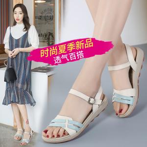 一字扣凉鞋女夏低跟学生鞋
