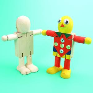 白坯木质机器关节人幼儿园益智儿童diy手工制作材料包涂鸦玩具