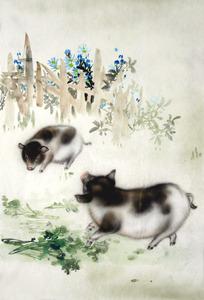 杜陈静四尺三开国画走兽手绘工笔无款狗马牛三羊开泰015-11-8-55图片
