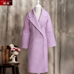 去似朝云 百分百羊毛大衣 粉紫色长袖魔调2018冬季新款时尚厚外套